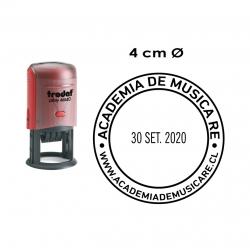 Timbre Fechador Redondo de 4 cms. automático, recargable de alta duración y personalizable. Trodat 46140