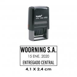 Timbre Fechador Automático Trodat Printy 4750, sello fechero personalizable. Pequeño.