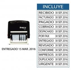 Timbre Fechador automático Traxx 7817-T, con 12 textos intercambiables ademas de la fecha.