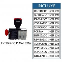 Timbre Fechador manual Traxx 2217-T con 12 textos intercambiables, (12 timbres con fecha y texto en