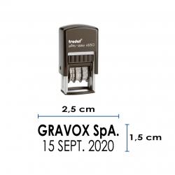 Timbre Fechador automático Trodat 4850, con texto a elección. pequeño y recargable.
