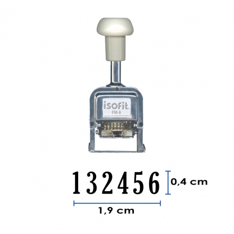 Foliador (numerador) Automático Isofit de 6 dígitos con hasta 5 repeticones, estructura metálica de larga duración.