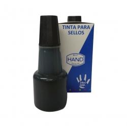 Tinta económica para tampón marca HAND en color Negro para timbres de goma y/o madera