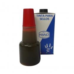 Tinta económica para tampón marca HAND en color Rojo para timbres de goma y/o madera
