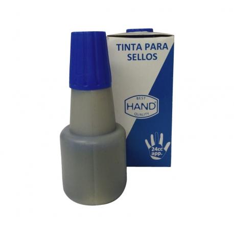 Tinta de goteo para timbres de goma en Color Azul marca Hand