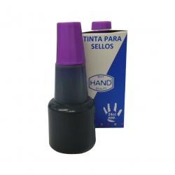 Tinta económica marca HAND en color violeta para timbres de goma y/o madera