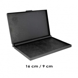 Tampón Color Negro de 16x9 cms Grande para timbres de goma o madera Marca Traxx, recargable. Listo para usar.