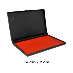 Tampón Color Rojo Grande 16x9 cms. (el más grande) para timbres de goma o madera Marca Traxx, con sistema recargable.