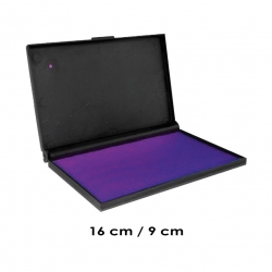 Tampón Color Violeta Grande de 16x9 centímetros para timbres de goma o madera Marca Traxx, permite recargas.