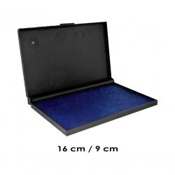 Tampón Color Azul Grande de 16x9 cms. para timbres de goma o madera Marca Traxx, con sistema recargable.