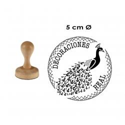 Timbre de Madera Redondo de 5 Centímetros de diámetro. Cuenta con elaboración en 1 hora.
