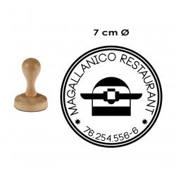Timbre de Madera Redondo muy GRANDE de 7 Centímetros de Diámetro, para logos y textos. hecho en 1 hora.
