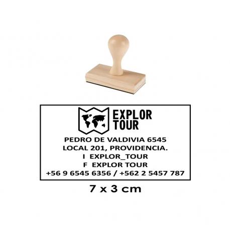 Timbre de goma Madera 15 de 7x3 cms. Con servicio rapido estara listo en 1 hora.