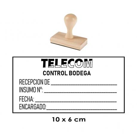 Timbre de goma GRANDE base de Madera 10x6 cms. Servicio rápido y de calidad.