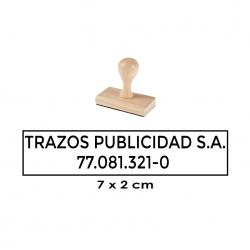 Timbre de Madera Rectangular 7x2 cms. sello alargado especial para textos o logos. Elaboración Express