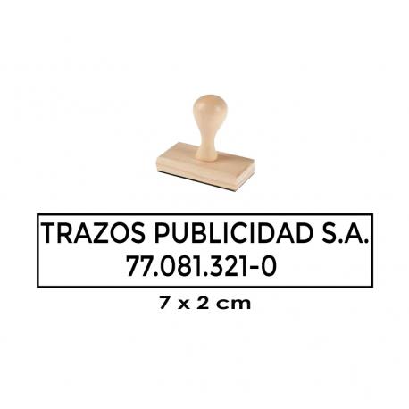 Timbre de Madera Rectangular 7x2 cms. Elaboración Express