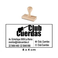 Timbre de goma GRANDE hecho en Madera 8x4 cms. Elaboración desde 1 Hora