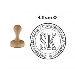 Timbre Redondo de 4,5 centímetros con base madera. modelo M45-R, disponible con servicio exprés.