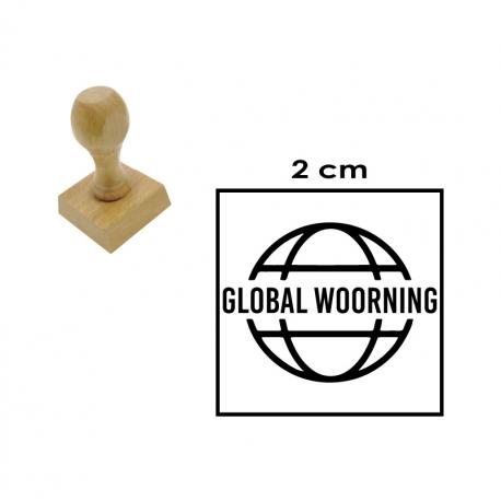 Timbre de goma Circular y Cuadrado de 2 centímetros en soporte de madera
