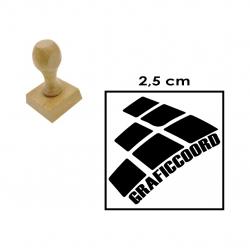 Timbre Cuadrado de 2,5 centímetros en soporte de madera - modelo M25, personalízalo a tu gusto.