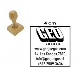 Timbre Cuadrado de 4 centímetros en soporte madera. modelo M40, pídelo con servicio express