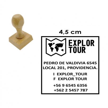 Timbre Cuadrado o Circular de 4,5 centímetros con base madera. Servicio Expres!