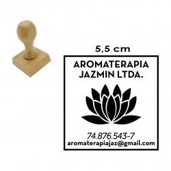 Timbre Soporte de Madera 5,5 x 5,5 cms, Listo en 1 hora. Modelo M55 Cuadrado.