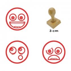 3 timbres de madera didácticos con diseños caritas con 3 expresiones distintas