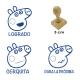 Pack de 3 timbres didácticos caricatura de chanchita color Azul