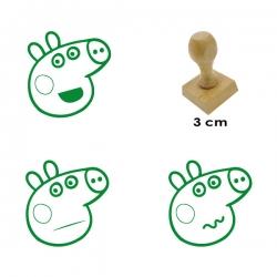 Pack de 3 timbres de madera didácticos caricatura de chanchita