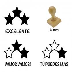 3 timbres de madera didácticos con diseño de estrellas con textos calificativos
