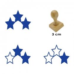 Pack de 3 timbres de madera didáctico con forma de estrellas con 3 valores distintos