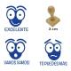 Pack de 3 timbres didácticos con texto personalizable con forma de hormiga Color Azul