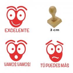3 timbres didácticos de carita de hormiga con texto, diseño exclusivo en GRAVOX