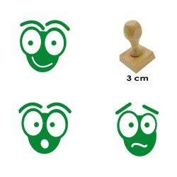 Kit 3 timbres de madera didácticos en forma de hormigas con 3 expresiones distintas