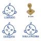 Pack 3 timbres didácticos en forma de mono con texto personalizable de Color Azul
