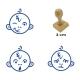 Pack de 3 timbres de madera didácticos en formato de mono Color Azul