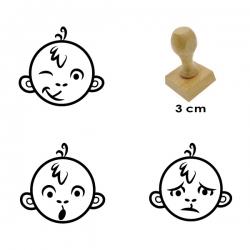 Pack de 3 timbres de madera didácticos en formato de monos para calificar de forma entretenida