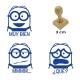 Pack de 3 timbres didácticos de caricaturas amarillas con texto personalizable Color Azul