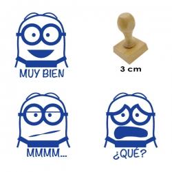 Kit de 3 timbres didácticos de caricaturas Bob con 3 texto y expresiones distintas