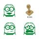 Pack de 3 timbres de madera didácticos de caricatura Bob Color Violeta