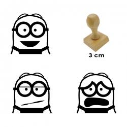 Pack de 3 timbres de madera didácticos de caricatura Bob con 3 expresiones distintas para facilitar el proceso de elaboración