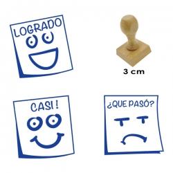Pack 3 timbres didácticos en forma de posit con textos descriptivos para calificar trabajos escolares