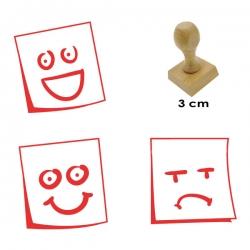 Pack de 3 timbres de madera didácticos en formato de posit con carita para calificar con 3 expresiones distintas