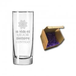 1 vaso liso de cristal Stölzle mediano 350 cc incluye grabado láser personalizado. y caja de regalo