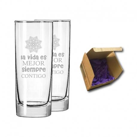 2 vaso liso de cristal Stölzle tamaño medio de 350 cc incluye personalización con grabado láser. Caja de regalo