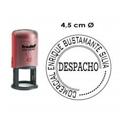 Timbre de goma automático redondo de 4,5 cms Trodat 46045. Circular y personalizable.