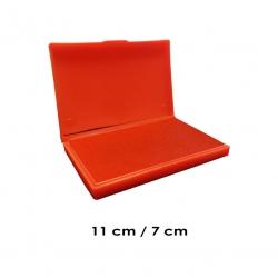 Tampón mediano 11x7 cms con tinta color Rojo para entintar timbres de madera y manuales serie económica, línea Talinay