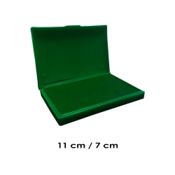 Tampón mediano 11x7 cms entintado color Verde y recargable, de serie económica, línea Talinay