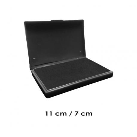 Tampón mediano 11x7 cms entintado color Negro y recargable, de serie económica, línea Talinay